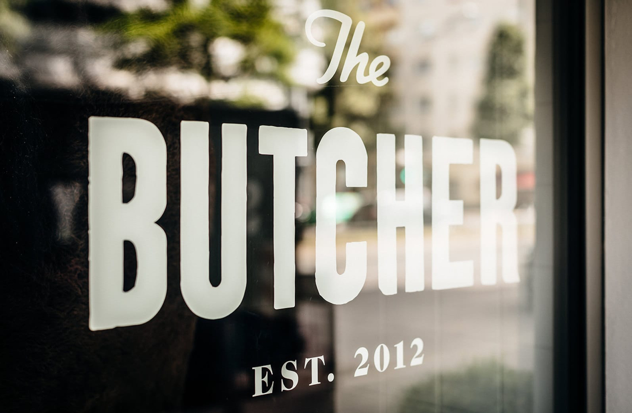 Butcher Logo on window